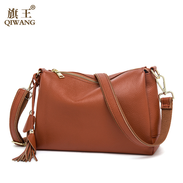 Qiwang Summer Soft COW Leather Bag Luxury 2017 Hot Fashion Women Brown Handbags Genuine Leather Female Bag Made in China