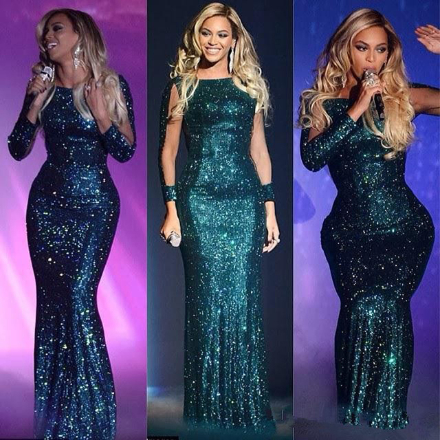 2015 New Green Beyonce Glittery Sequined Long Sleeve Evening Dresses Mermaid Long Celebrity Dresses