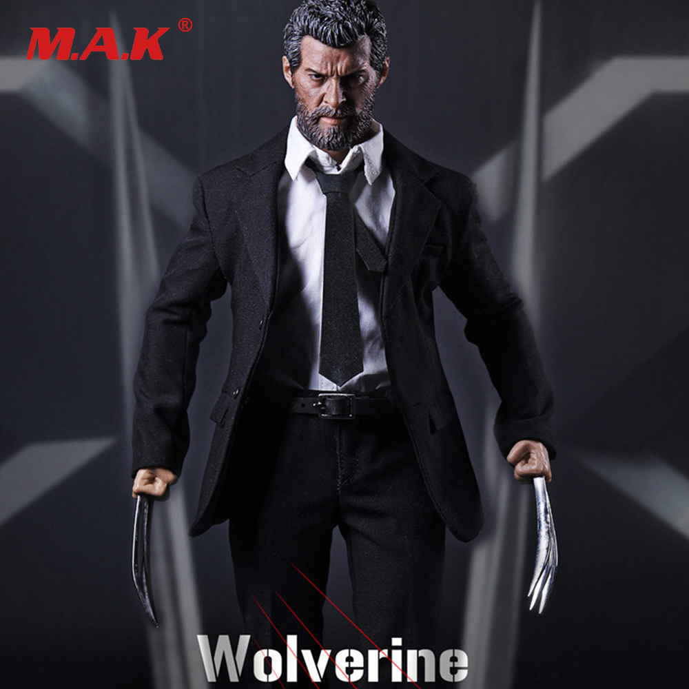 Full Set X-men Wolverine Logan Action Figure 1/6 Scale Black Suit &Head & Body With Wolf Claws Figures Doll Collections 1 6 scale male head wolverine head sculpt old hugh jackman logan x men for 12 action figure body