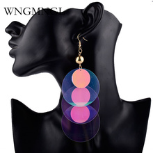 WNGMNGL 2018 New Bling Big Round Sequins Long Earrings For Women Handmade Bohemian Colorful Drop Statement Jewelry Gift