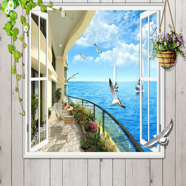 Window 3D Seaside Sunrise View Wall Stickers Art Mural Wallpaper Living  Bedroom Wall 3D Wallpaper Window