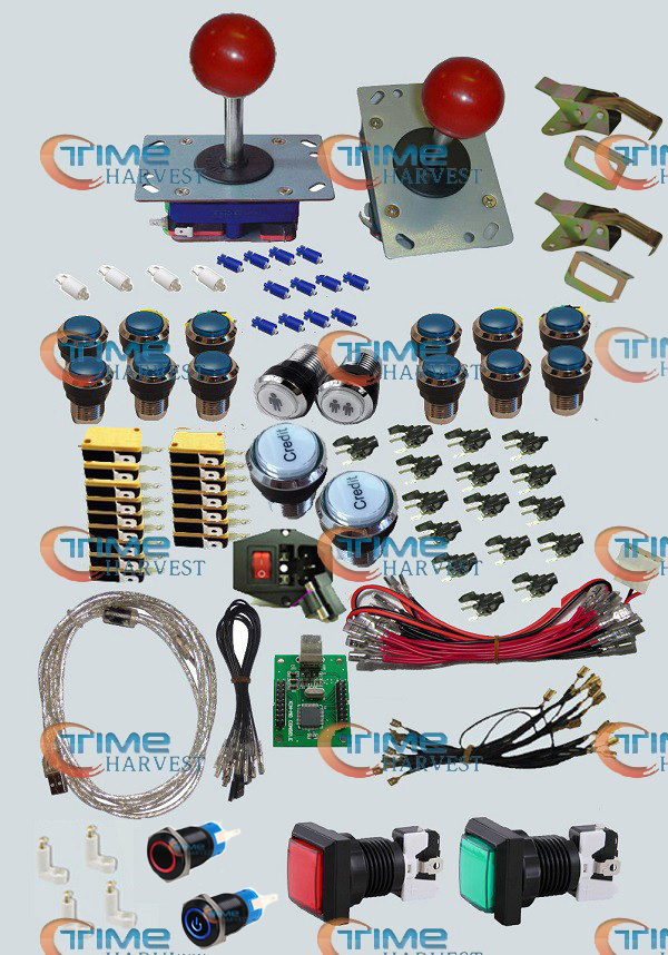 Arcade parts Bundles kit With Joystick chrome Illuminated & momentary LED buttons 2 player USB to Jamma Build Up Arcade cabinet arcade bundle with 60 in 1pcb power supply illuminated joystick illuminated button microswitch jamma harness speaker ground wire