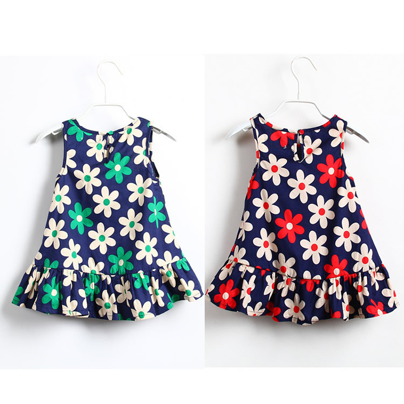 Girls Dress 2018 New Fashion Summer Dress Baby Girl Clothes Cute Floral Sleeveless Baby Princess Dress Costume for Kids Vestidos