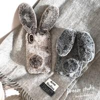 أفخم الأرنب حالة الهاتف لفون 7 زائد شعر ناعم الإناث الشتاء أرنب شعر لطيف غطاء الهاتف ل فون 7 زائد