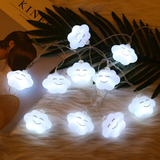 1 5m 10led White Cloud String Lights Fairy Lamp For Children S Bedroom Xmas Garland Wedding Christmas Decoration Battery Ed