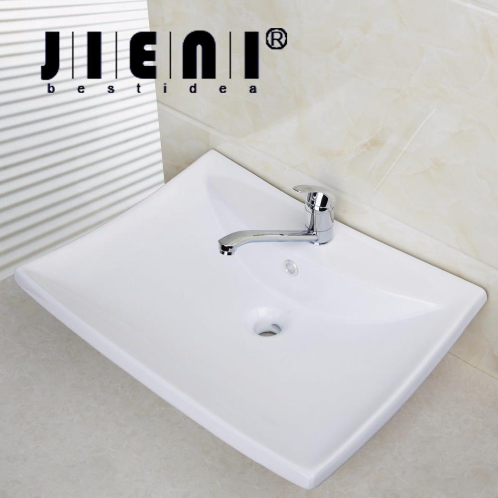 BEST Bathroom Porcelain Ceramic Vessel Vanity Sink with Pop Up DrainTD30058393  Art White Washbasin Bar oriental art hand carved ceramic porcelain wash basin bathroom sink