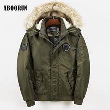 Aboorun 2017 зимние куртки мужские Толстая парка с мехом на капюшоне мужской моды полиэстер пальто Европейский Стиль W2111