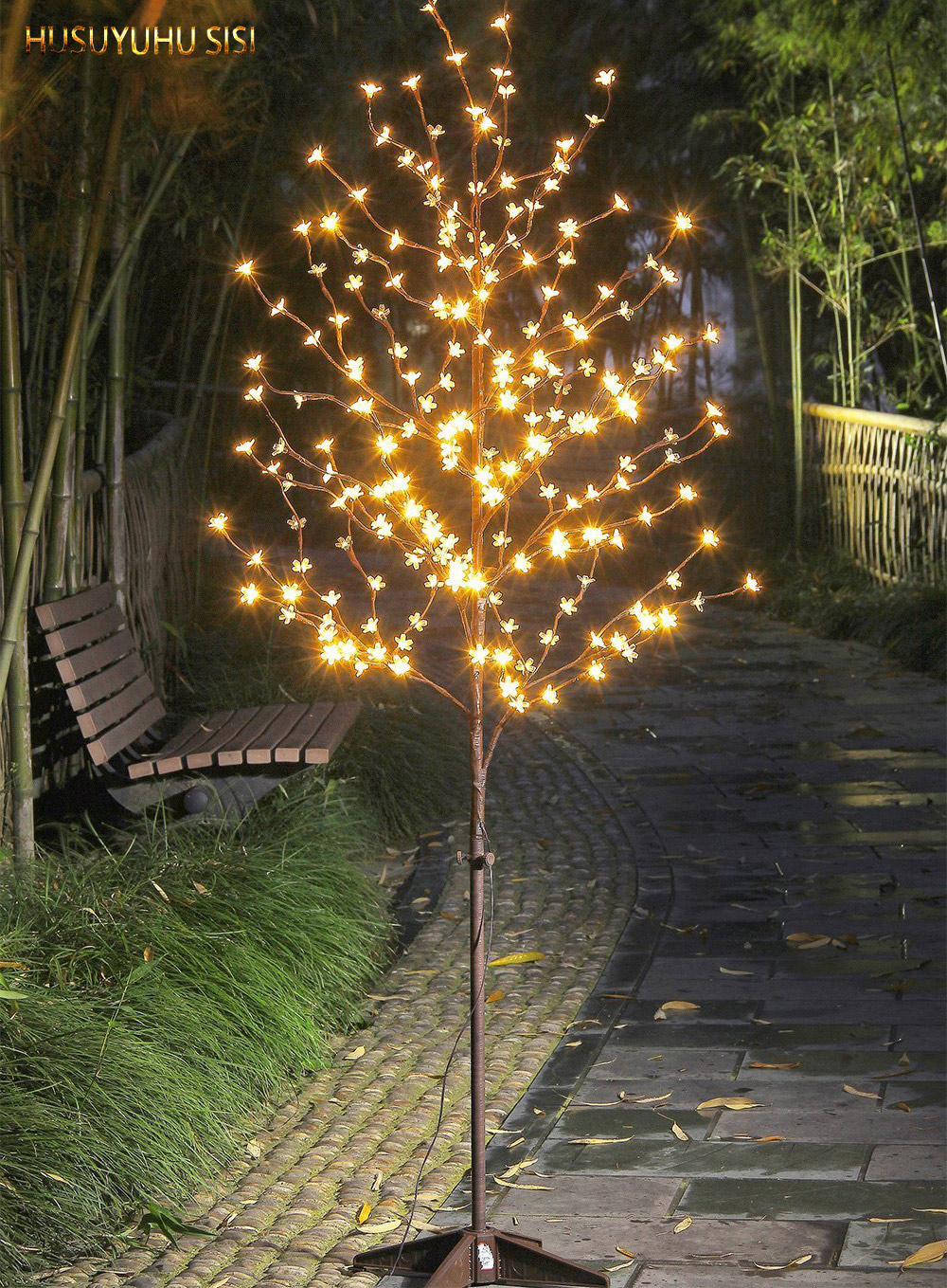 HUSUYUHU SISI  LED 6 Ft. 208L Lighted Cherry Blossom Tree,6.5 Feet Warm White 24V UL Approved Adaptor Safe Lighting Strings