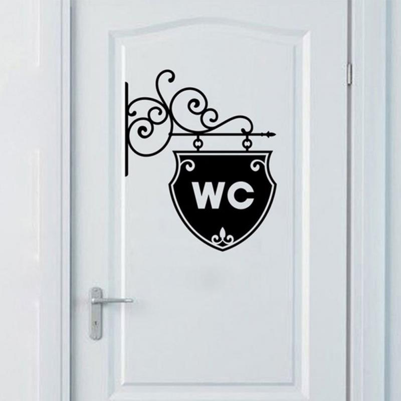 Reusable Office Home Bathroom Door Sticker WC Symbol PVC Self Adhesive Removable Easy Apply Toilet Waterproof Decorative #2