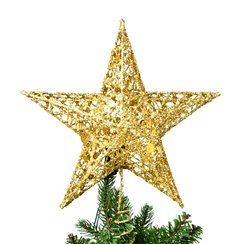 hollow star cute gold powder christmas star christmas tree toppers 1520cm for christmas tree
