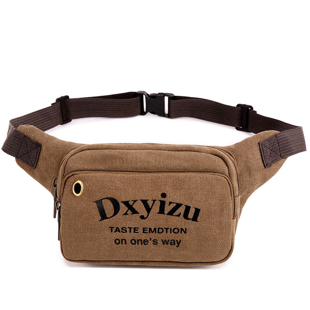 2017 New Coffee Print Letter Canvas Men Waist Bags Casual Small Chest Packs Small Fanny Pillow Unisex Waist Pack Sling Bag