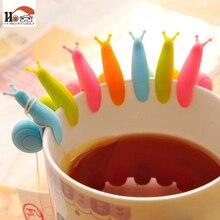 10 шт./партия, милая этикетка для бокалов с улиткой для чайных пакетиков, Висячие кружки, чашки с зажимом для заварки чая, вечерние принадлежности, новинка, бытовые гаджеты