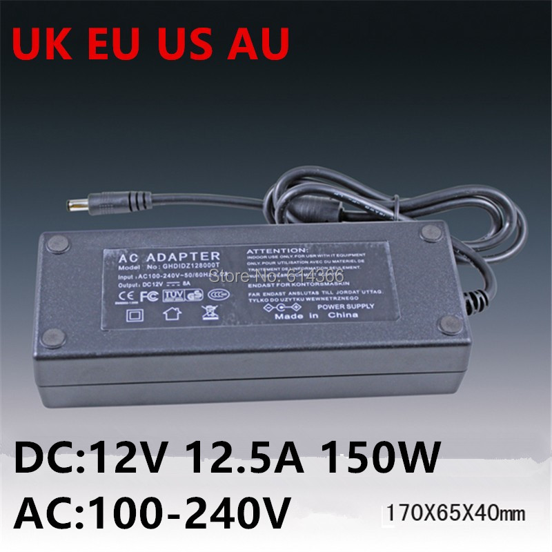 1PCS US EU AU UK Plug 12V12.5A AC Adapter AC 100-240V to DC 12V 12.5A 150W Power Adapter 12v12.5a 938l universal travelling power adapter w eu us uk au plugs black ac 100 240v
