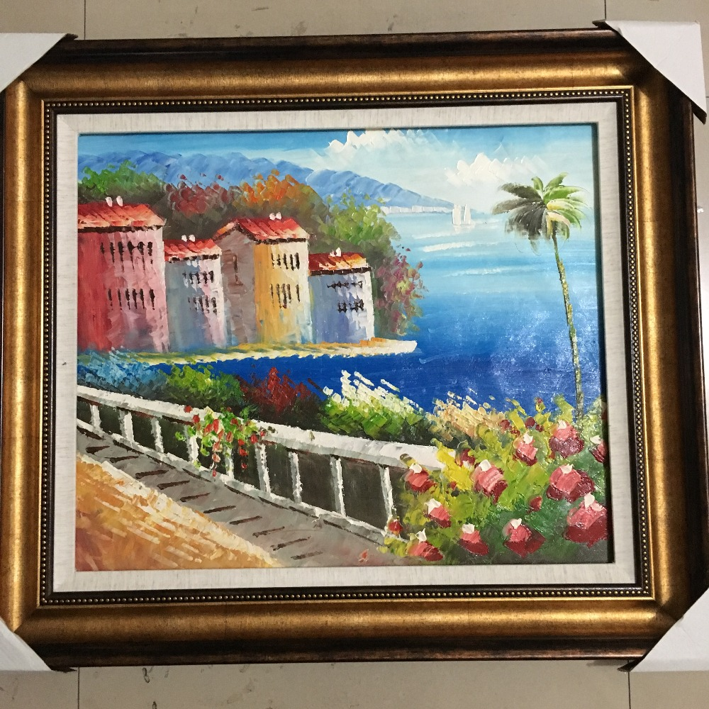 Handmade knife painting mediterranean sea flower house for Oil paintings of houses