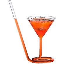 Il trasporto Libero 2PCS di Cristallo A Spirale Bicchiere Da Cocktail di Champagne Tazza di Vino Rosso Martini Calice 5.6 Oz con Paglia Set di 2