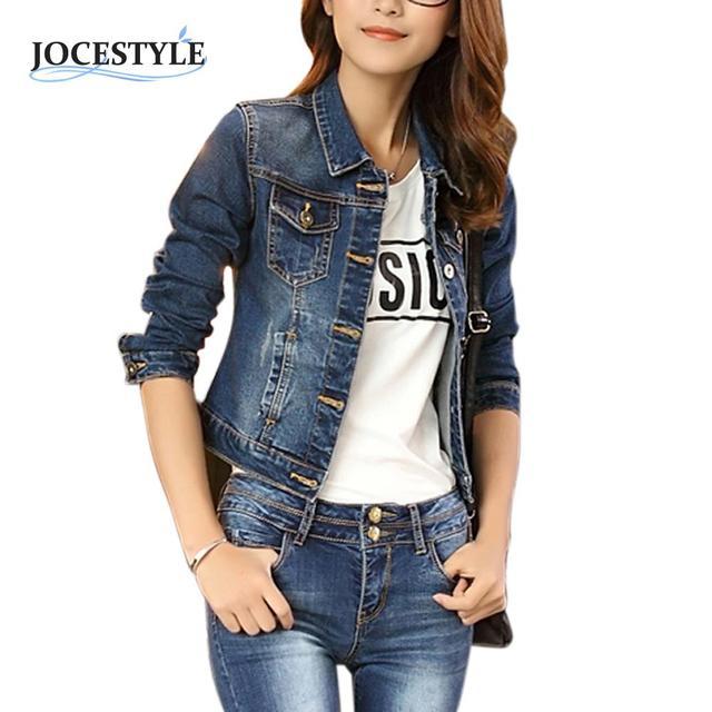 Осень-Весна Женщины Джинсовые Короткие Куртки Случайные Синий Тонкий Карманы Кнопки женские Джинсы Пальто Твердые Тонкий Куртки Mujer Sml XL
