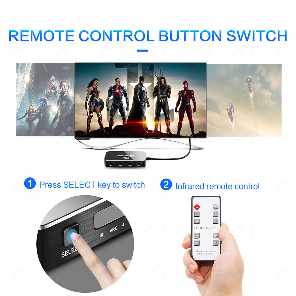 HDMI Switch 2 0 4K 60HZ HDR HDMI Splitter Switch 4 In 1 Out HDMI Switcher HDMI Switch 2.0 4K 60HZ HDR HDMI Splitter Switch 4 In 1 Out HDMI Switcher Audio Extractor ARC & IR Control For PS3 PS4 HDTV