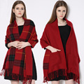 WOWTIGER   Fashion New Brand Women's Winter Shawl Lady Knit Shawl Cape Cashmere Scarf Poncho