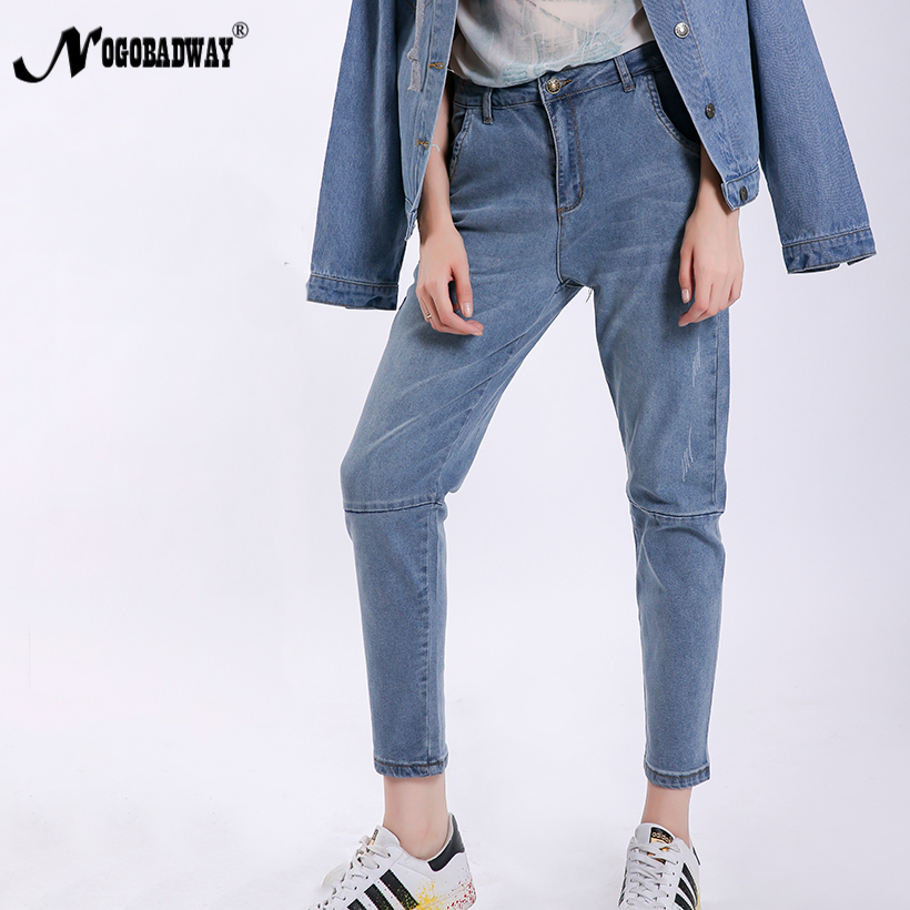 Bottoms Guuzyuviz Loose 4xl Autumn Winter Jeans Woman Vintage Casual Plus Size High Waist Cotton Elasticity Cuffs Denim Harem Pants Terrific Value