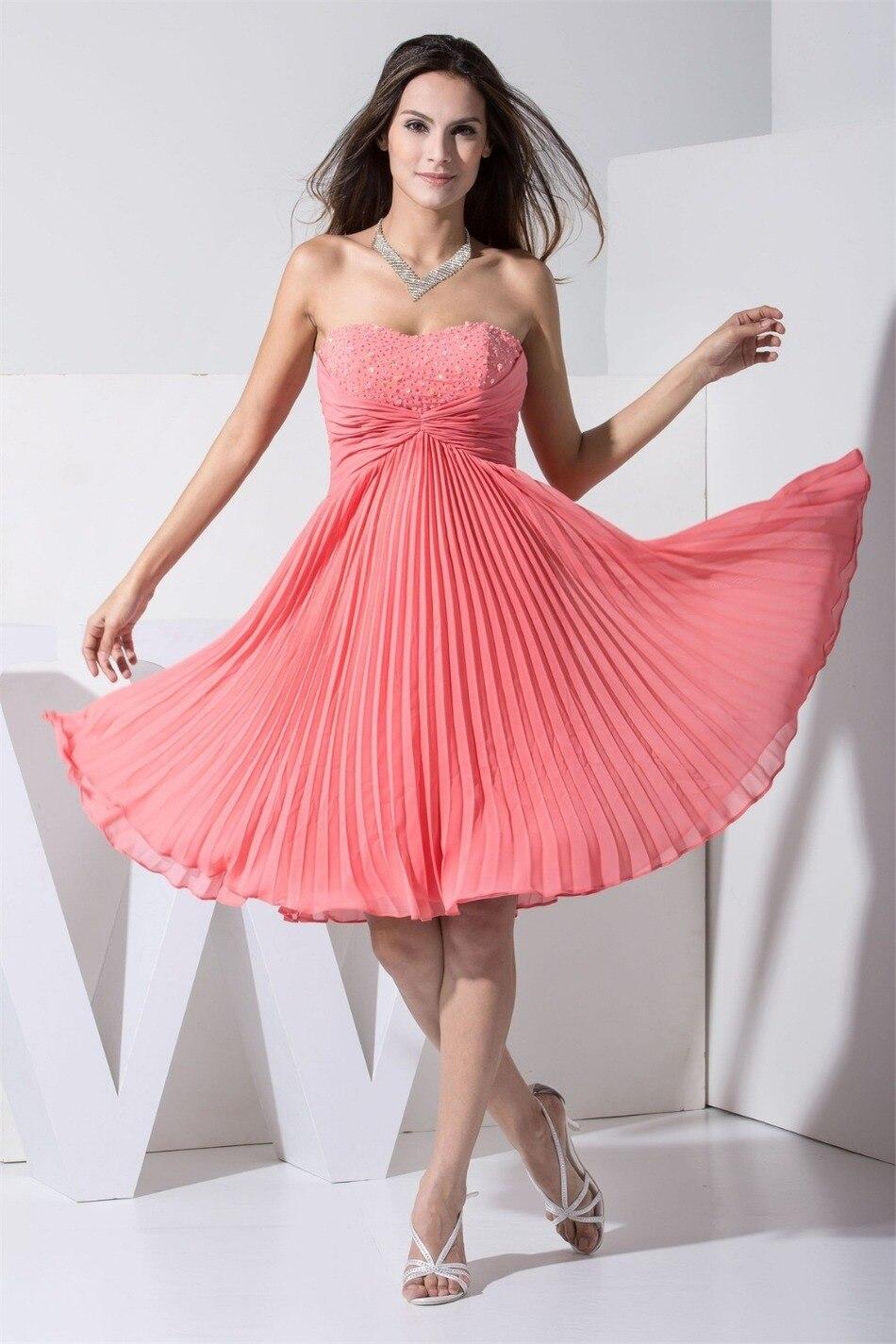 Baratos Barato corto coral dama de honor vestidos de novia de la ...