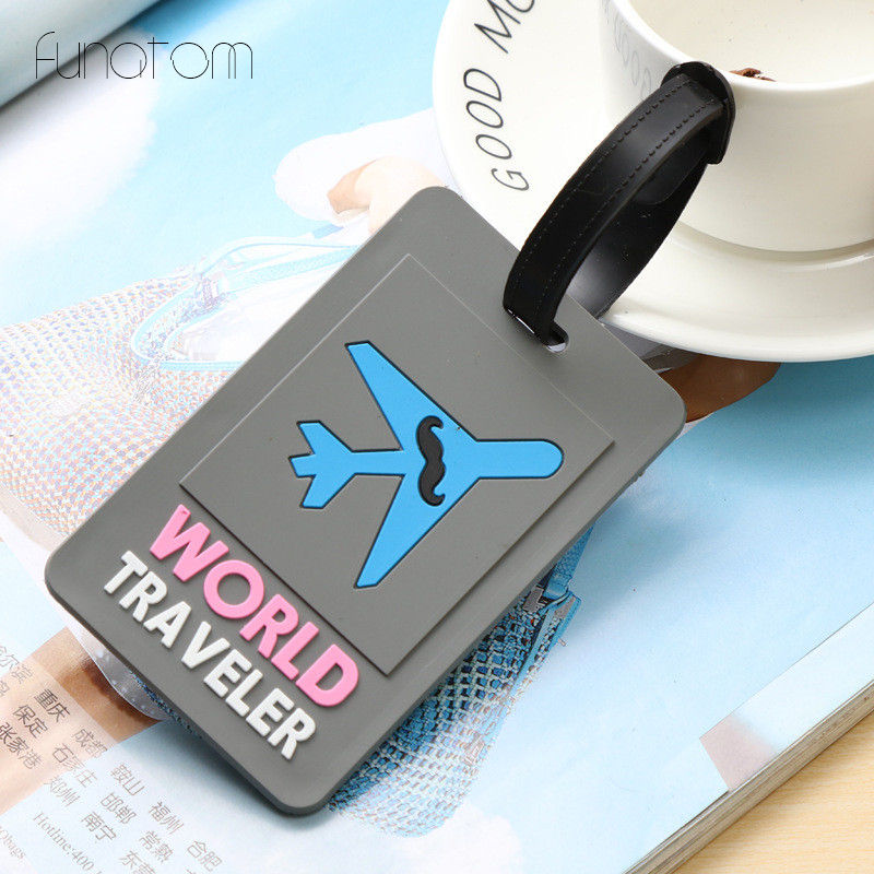 Travel Accessories Creative Luggage Tag Plain Cartoon Silica Gel Suitcase ID Addres Holder Baggage Boarding Portable Label