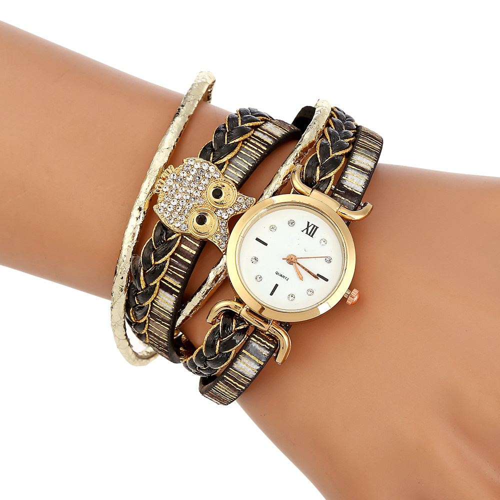 Fashion Women Watches Quartz Wristwatches Circle Womens Bracelet Watch Ladies Clock Hand Strap Gifts Lucky Owl Relogio Feminino