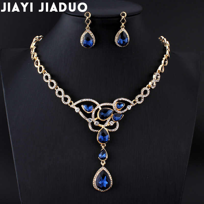Jiayijiaduo India Jewellery Sets Wedding Necklace Sets Gold Color Womens Clothing Accessories Bridal Jewelry Sets Wedding