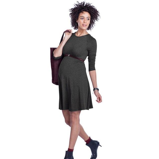 ab76db290d0a5 High Elastic Knee-Length Pregnancy Dresses Clothes for Pregnant Women  Elegant Maternity Dress Office Vestidos Formal Wear