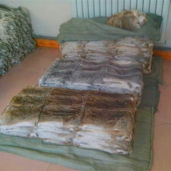 Real natural gray brown color home rabbit fur skin pelt rug blanket