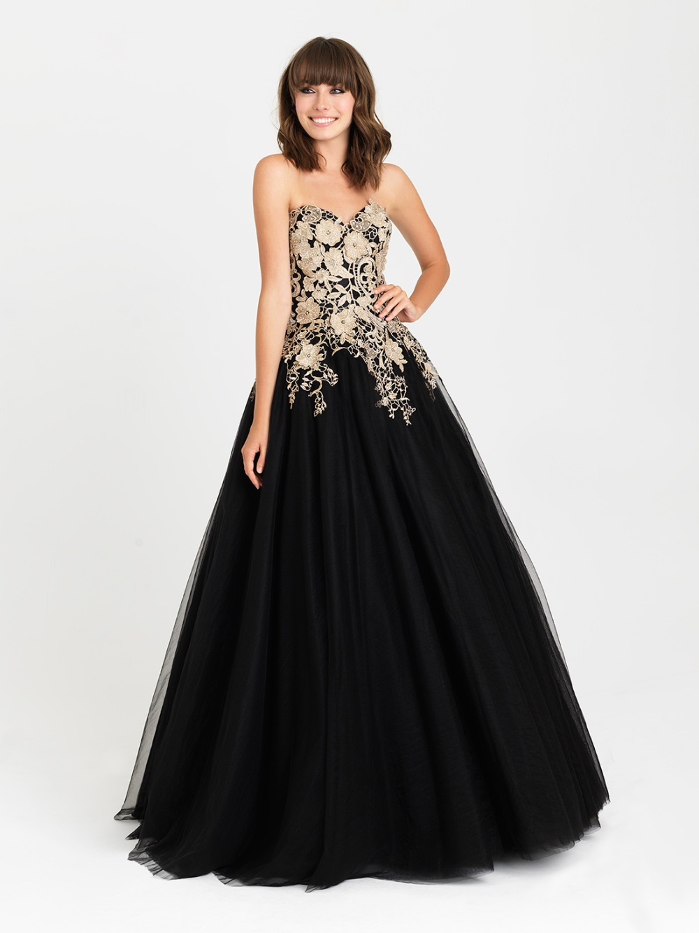 Black and gold ball gown prom dresses | Kica style dress 2018