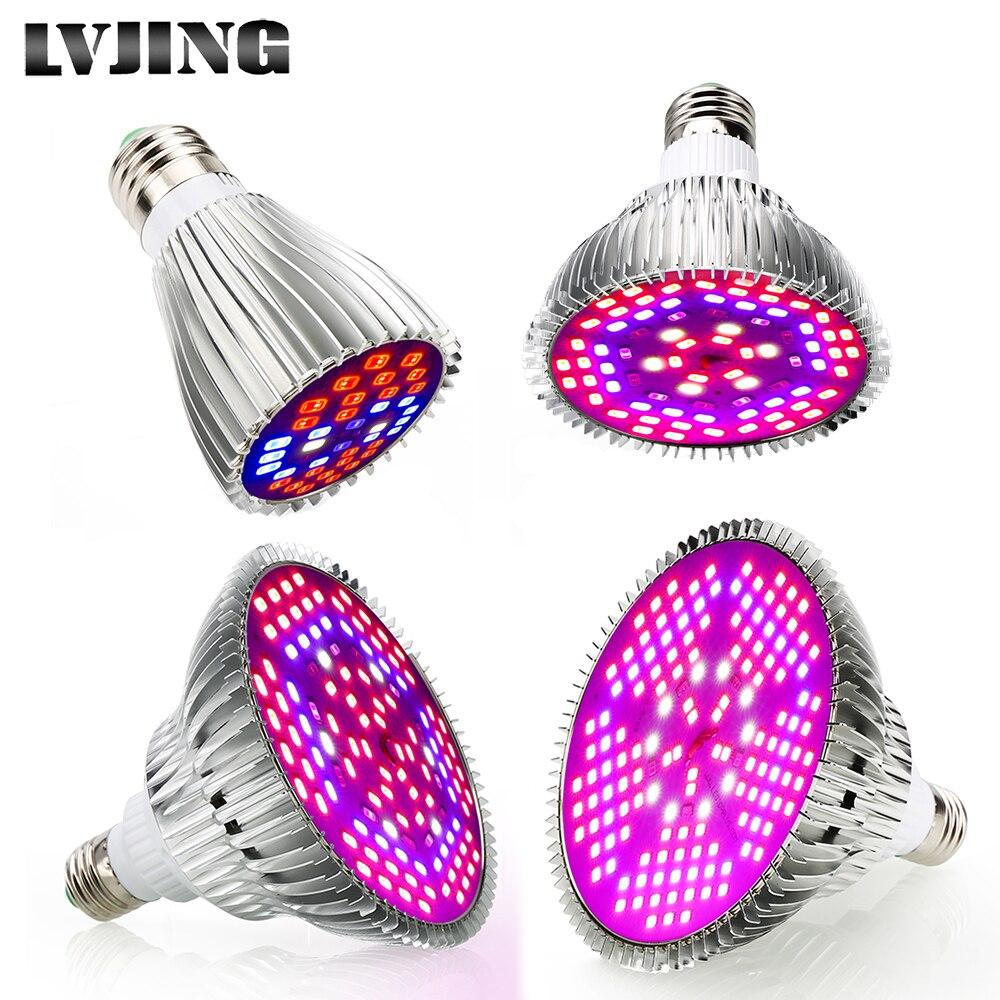 Espectro completo 30 W/50 W/80 W/100 W AC85 ~ 265 V UV + IR e27 LED luz para crecer plantas con flores y cultivo hidropónico LED acuario lámpara
