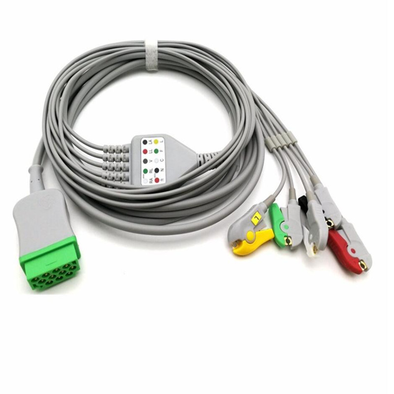 Совместимость для GE программатор Dash 1000, PRO 2000, солнечные 9500 5-поводок со свинцовыми проводами, IEC зажим конца, 11 Pin-код, Одна деталь 5 Провода ЭКГ...