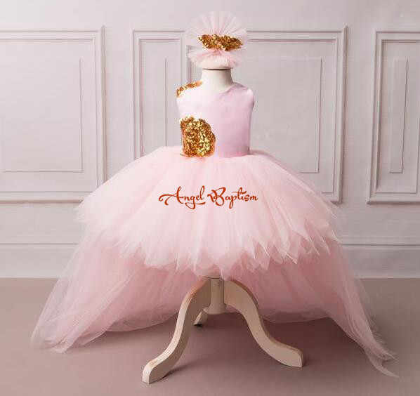 83b666004719 Gorgeous baby pink flower girl dress with golden sequin V-back high low  with long