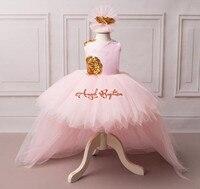 שמלת תינוקת פרח ורוד עם זהב נצנצים מדהים V-בחזרה גבוה נמוך עם הנפוח ארוכה רכבת טול תינוק מסיבת יום הולדת שמלות