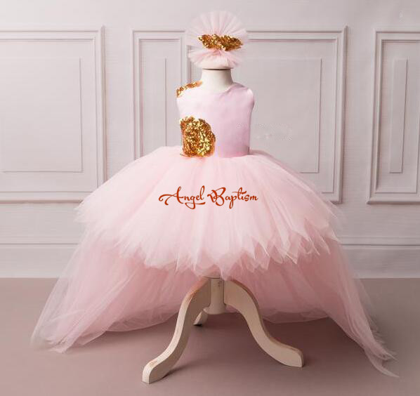 все цены на Gorgeous baby pink flower girl dress with golden sequin V-back high low with long train puffy tulle baby birthday party dresses
