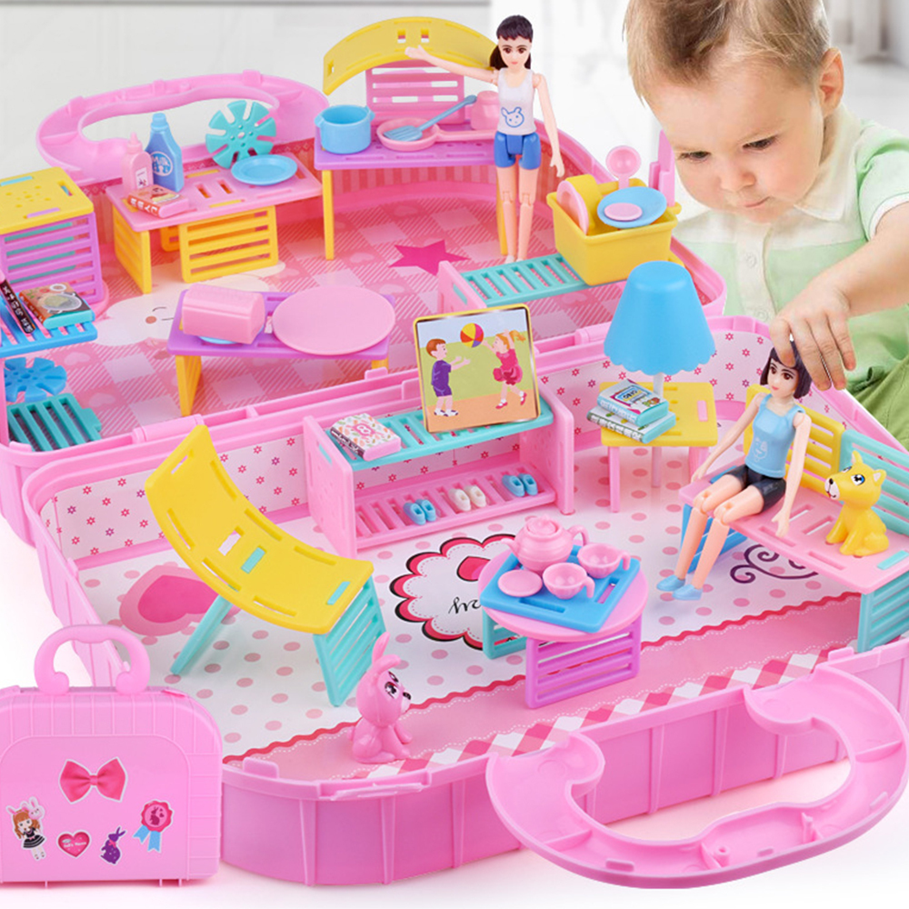 Role Play Toys Set Princess DIY Assembled Doll House Toys with Furniture Set Accessories Girls Birthday Gift Set Dropshiping