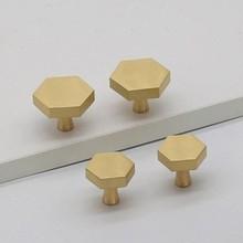 Brass Hexagon Knobs Cabinet Knob Handle Dresser Drawer Pulls Handles Antique Kitchen Furniture Hardware