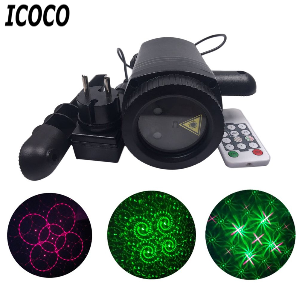 ICOCO LED Laser Lawn Lamp Dynamic Light Waterproof Remote Control Spot Lights Change Pattern Card Outdoor Party Wedding Garden