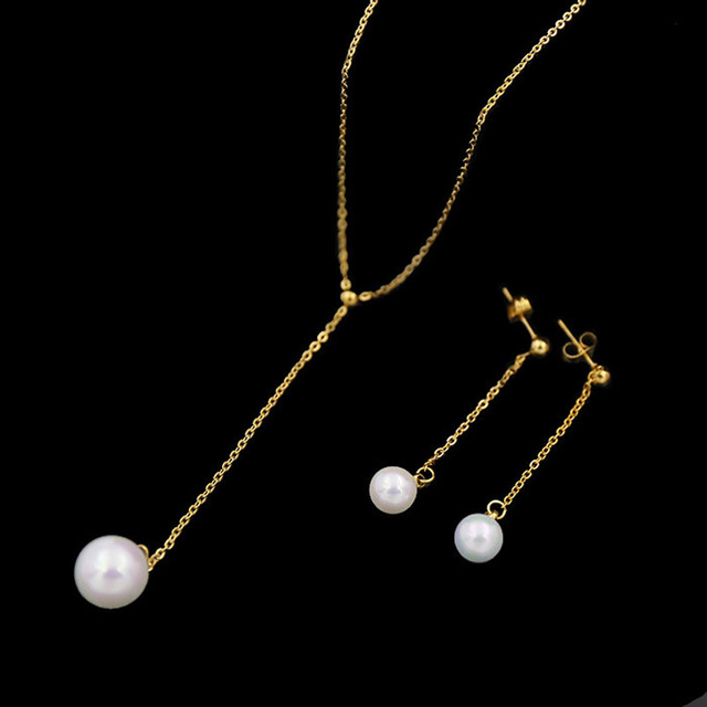 Elegant Single Pearl Type Stainless Steel Necklace And Drop Earrings Jewelry Set For Women