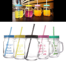 1 PC  500ML Straw Mason Cup Tumbler Portable Juice Cup Glass Drinking Cup With Straw Lid For Home Kitchen Restaurant straw tumbler with lid