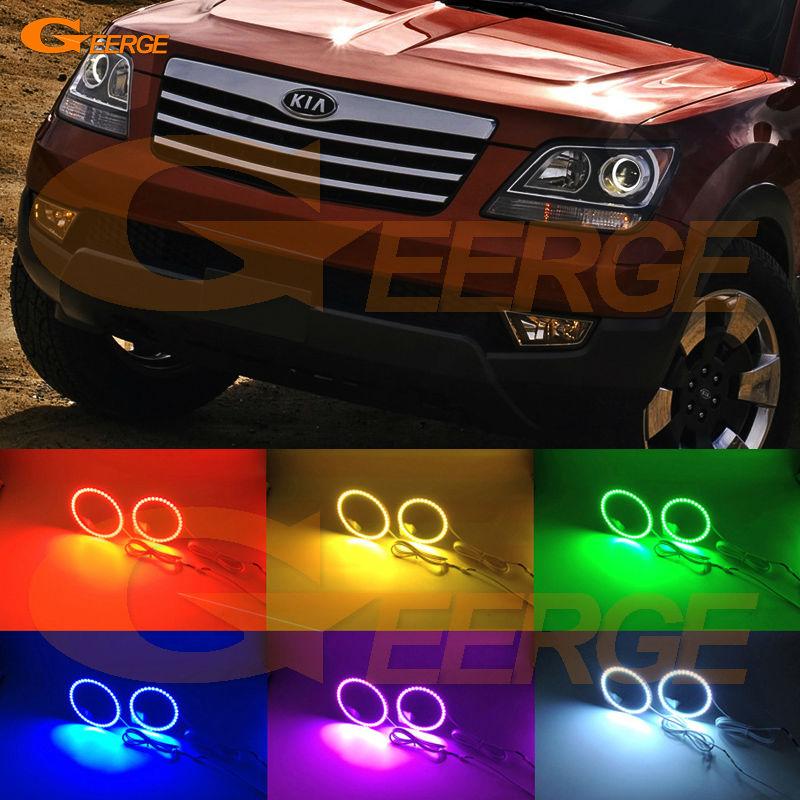 Для Киа Боррего Мохаве 2009 2010 2011 отличный Мульти-Цвет Ультра яркие RGB светодиодные глаза Ангела комплект гало кольцо