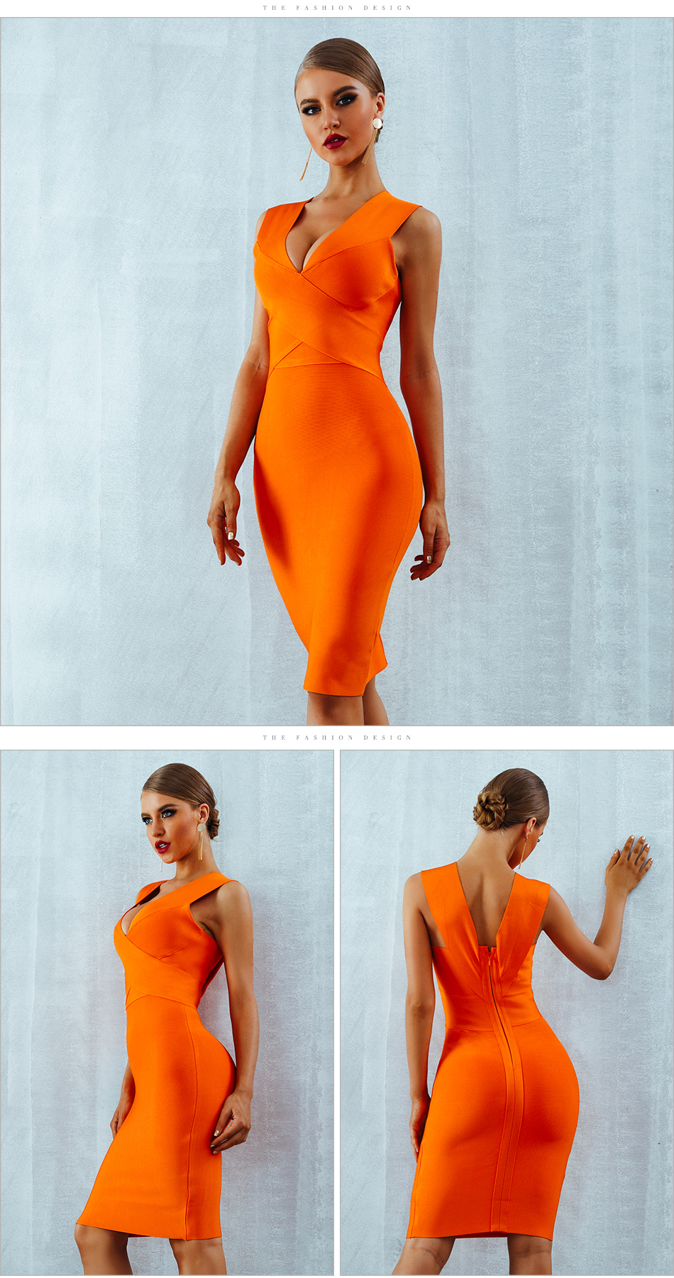 ADYCE Summer Women Bandage Dress Vestidos Verano 2019 Orange Red Tank Sexy Deep V-Neck Sleeveless Bodycon Celebrity Party Dress 6