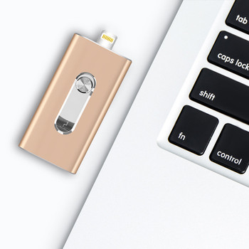 BRU OTG USB Flash Drive 8GB16G32G64G128G256GB For iPad iPhone 5S/6/6S/7/7plus/8/X/XS/XR 3in1 Android PenDrive USB Memory Stick 1