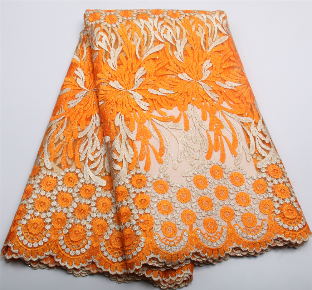 Orange Beads African French Lace Fabric High Quality 2017