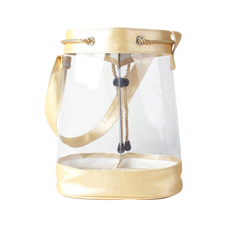 Customize Premium Stylish Clear PVC transparent Cosmetic Bags Gift Wine Bucket Bag