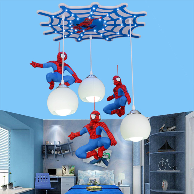 Creative Cool Spiderman Character Modeling Boy Bedroom Ceiling Lights Children Room Led Lamp Remote Control Switch