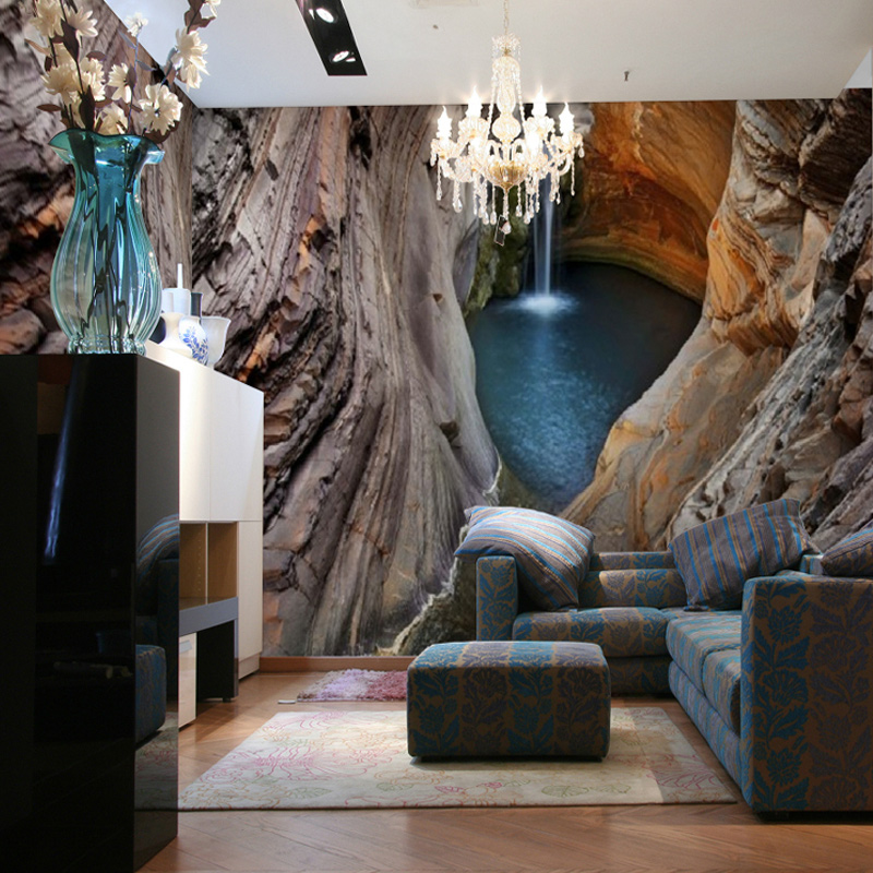 Custom 3d Stereo Large Mural Cave Waterfall Non Woven