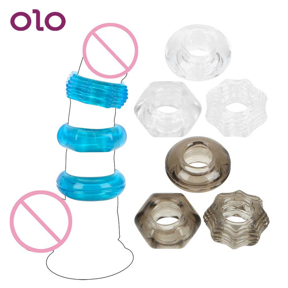OLO 3 adet/takım Kristal Penis Halkası Silikon Cock Ring Gecikme Boşalma Penis Büyütme Genişletici Seks Ürün Erkekler için seks Oyuncakları