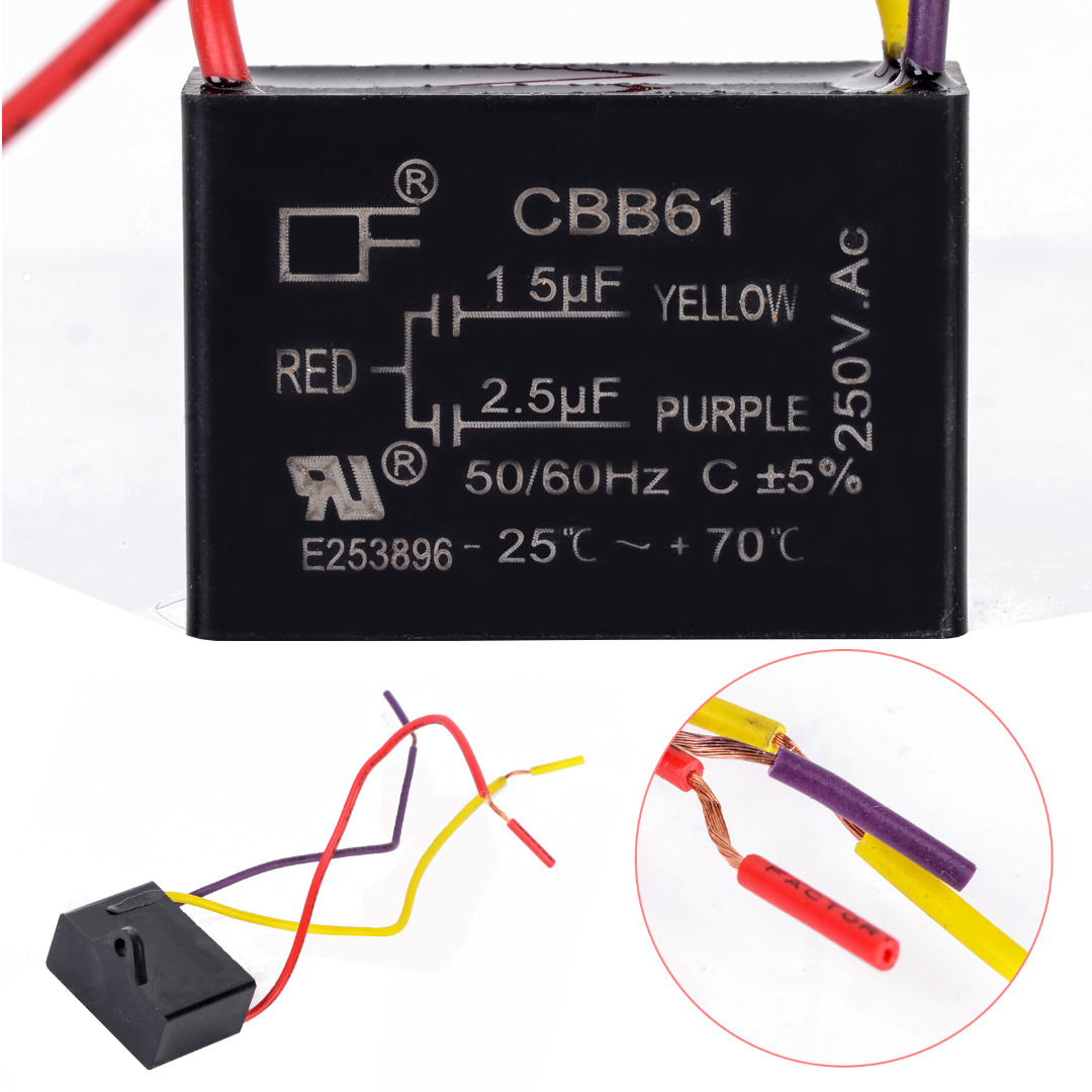 hight resolution of aliexpress com buy 1pc 3 wires electric fan capacitor cbb61 1 5uf 2 5uf capacitor ac 250v 50 60hz for fan ceiling from reliable capacitor ac suppliers on