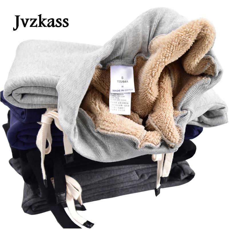 Image 2 - Jvzkass 2019 winter new lamb plus size sweat pants plus velvet  padded feet pants lamb wool casual pants womens trousers Z54women  trouserscasual pants womenpants women